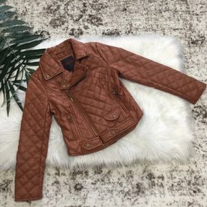 Other - Brown Faux Leather Quilted Moto Bomber Jacket 12